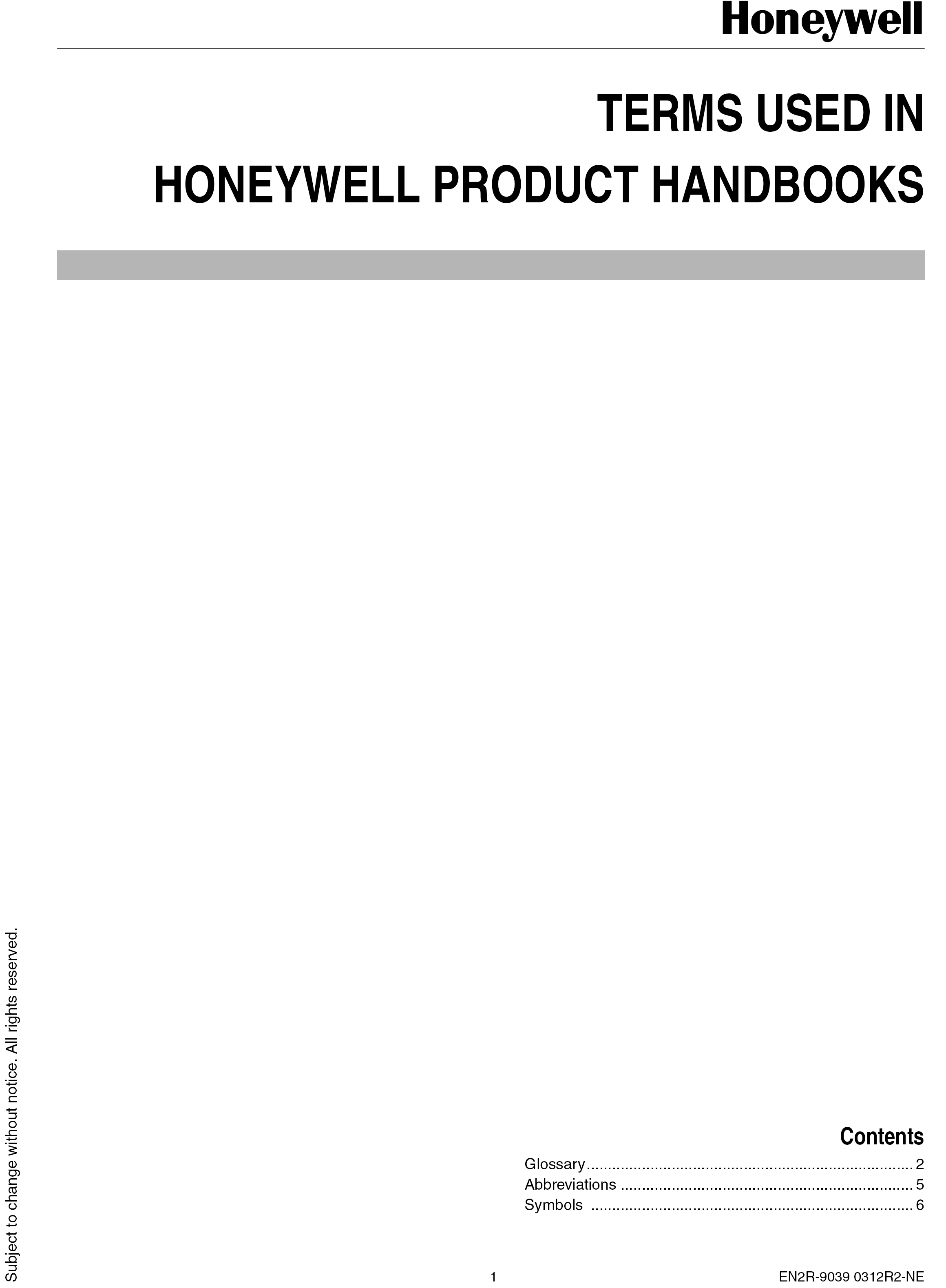 TERMS USED IN HONEYWELL PRODUCT HANDBOOKS